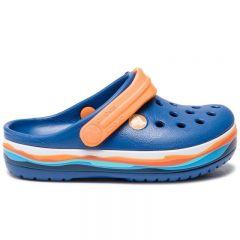 Slapi Crocs Crocband Wavy Band Clog K Blue Jeans Crocs - 3