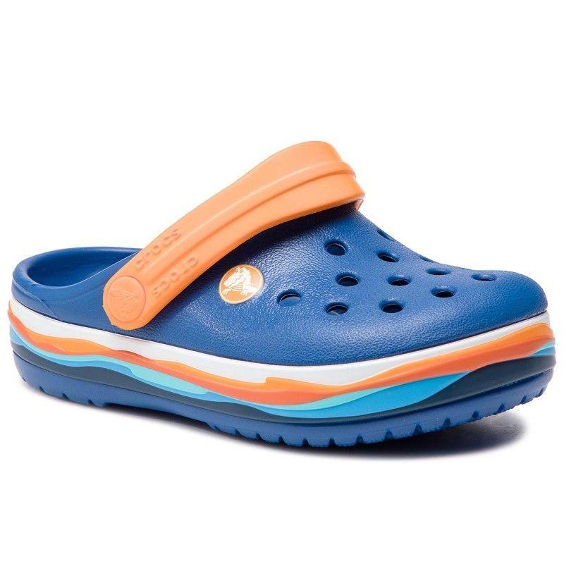 Slapi Crocs Crocband Wavy Band Clog K Blue Jeans Crocs - 1